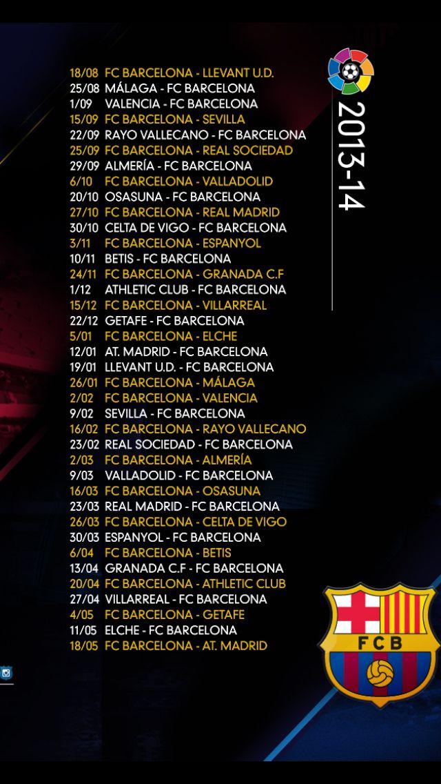 Calendario Del Barca.Calendario Del Fcbarcelona Para La Temporada 2012 13 Mundo Barca