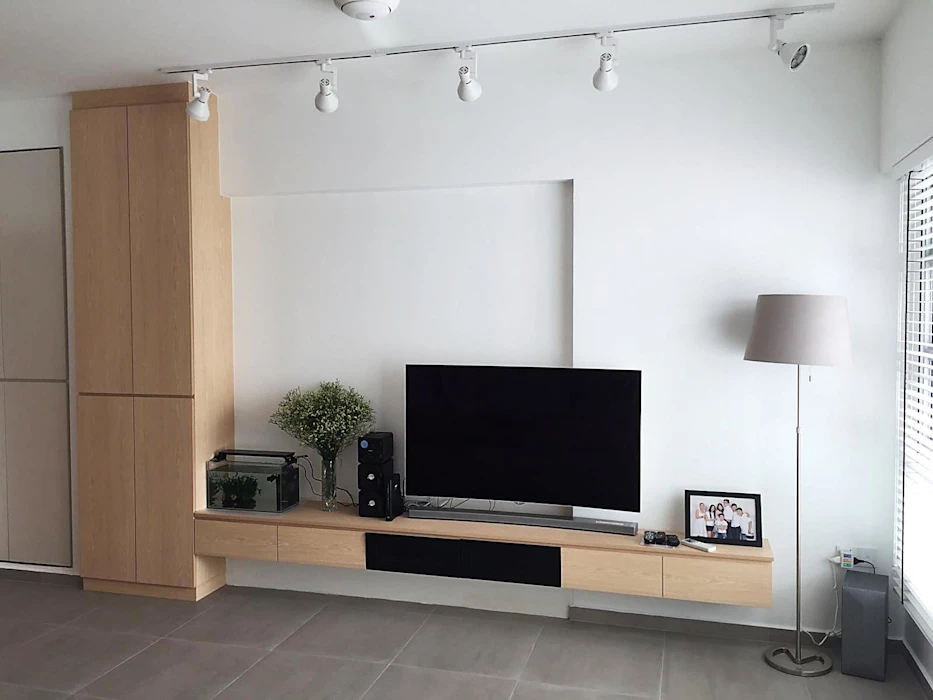 Tv Feature Wall With Full Height Cabinet Scandinavian Style Tv Feature Wall Scandi Living Room Open Concept Kitchen Living Room