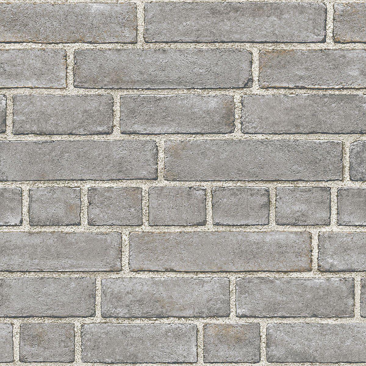 Grey brick facade peel and stick wallpaper brick facade grey