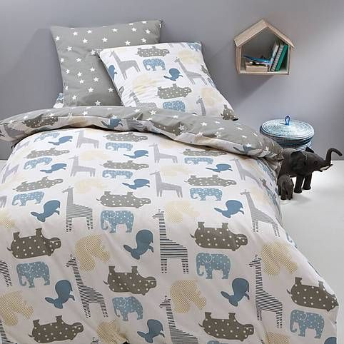housse de couette coton r versible imprim e animaux bleu de jolis animaux aux couleurs tendres. Black Bedroom Furniture Sets. Home Design Ideas