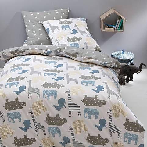Housse de couette coton r versible imprim e animaux bleu de jolis animaux aux couleurs tendres - Les 3 suisses housses de couette ...