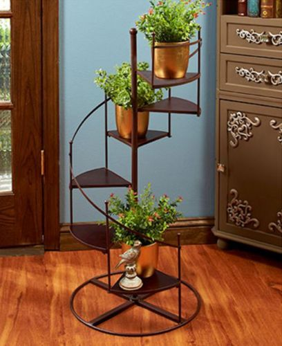 Plant Stand Spiral Staircase Planter Metal And Wood 6 Steps Indoor Outdoor Decor