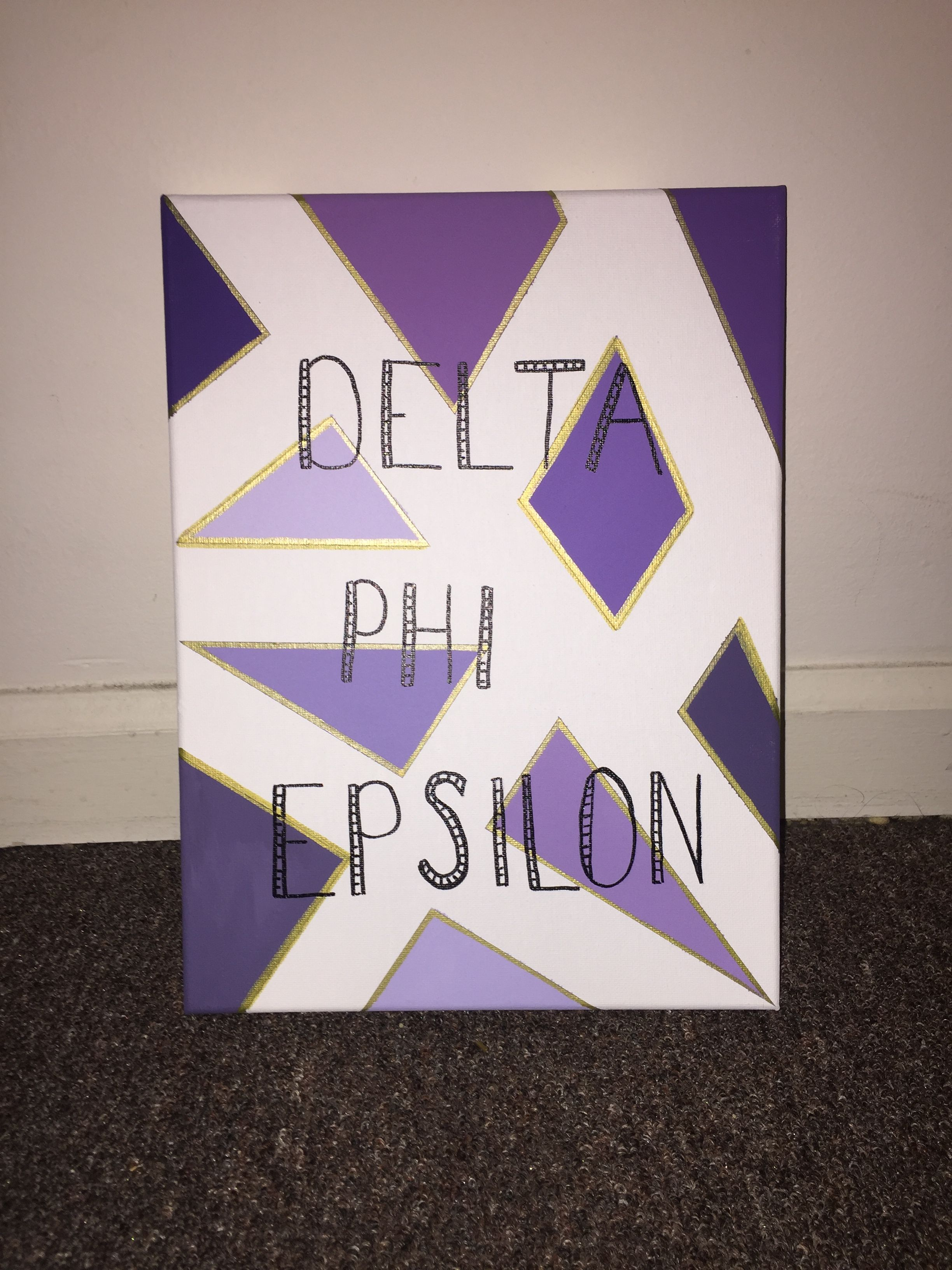 Delta Phi Epsilon. DPHIE. Canvas with purple and gold design. Made for 2016 -- Little. Big/Little Reveal 2016. Sorority crafts. #biglittlecanvas