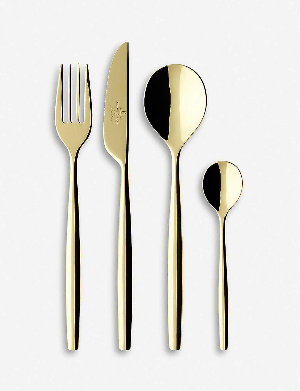 Villeroy Boch Metrochic Gold Plated Stainless Steel Cutlery Set