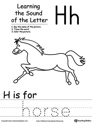 learning beginning letter sound h phonics worksheets phonicslearning beginning letter sound h learn the sound of the letter h by saying the name of the picture and then tracing the word this printable worksheet is