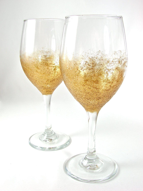 Glitter wine glass pair sunburst gold wine fancy and for Holiday stemware