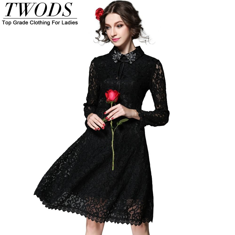 S xl vintage long sleeve black lace dress arrival slim fit flare