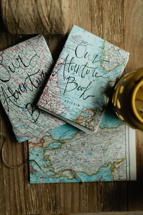 Our Adventure Book   Handmade Journal   Coptic Stitch  Map Journal
