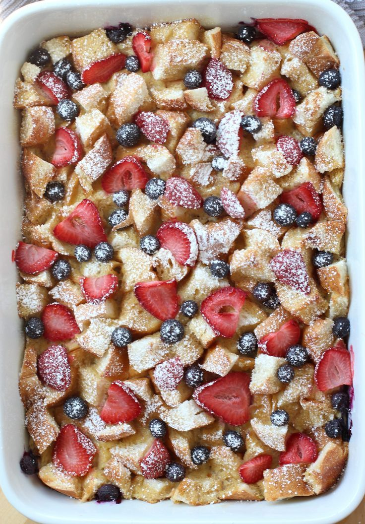 breakfast fruit #breakfast Berry French Toast Casserole - Perfect for Mothers Day brunch! An easy casserole dish combining bread and an egg mixture consisted of cinnamon and other spices. It is moist on the inside, slightly crusty on the top, and then topped off with lots of berries! Make ahead and pop into the oven whenever you are ready to eat it! The perfect breakfast and brunch food! #MothersDay #MothersDayBrunch #breakfast #brunch#frenchtoast #berries #berry #fruit #egg #casserole #recipe #