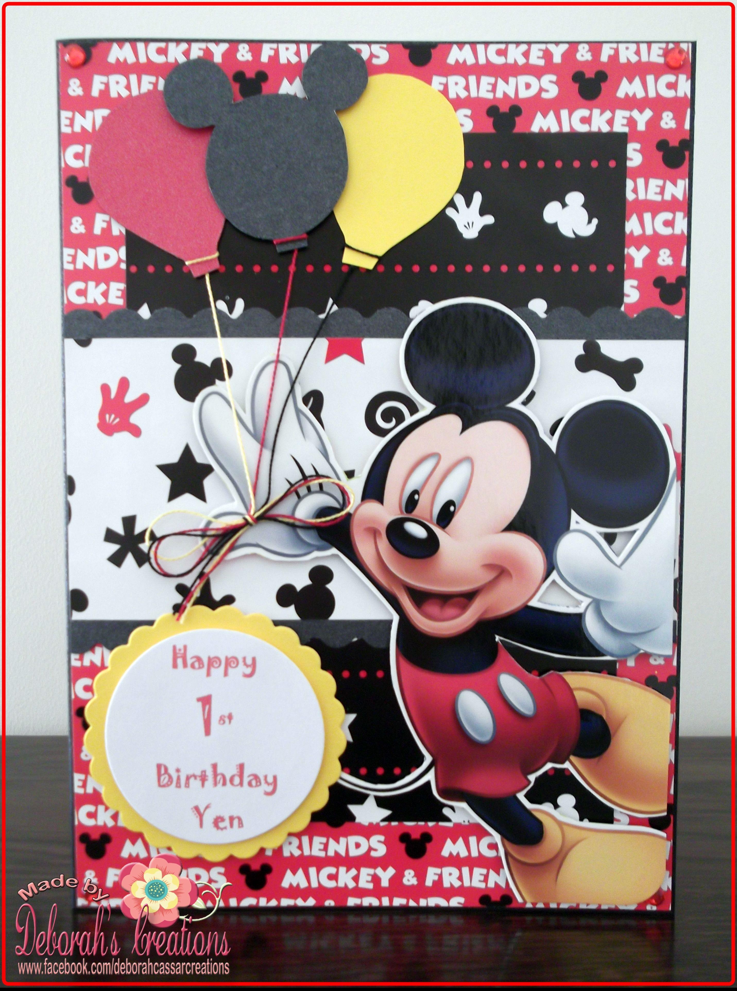 1st Birthday Boy Card With Disney Mickey Mouse Theme Kids Cards Cards Handmade Mickey Mouse Theme