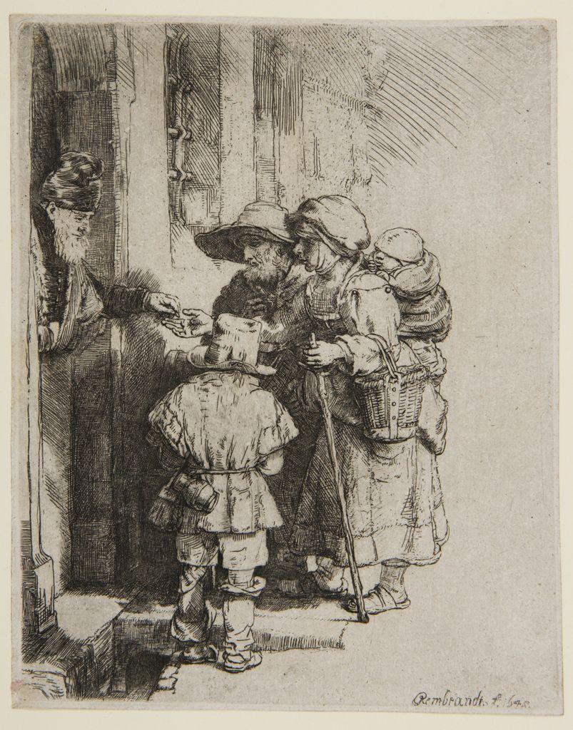 Rembrandt Van Rijn Beggars Door Of House 1648