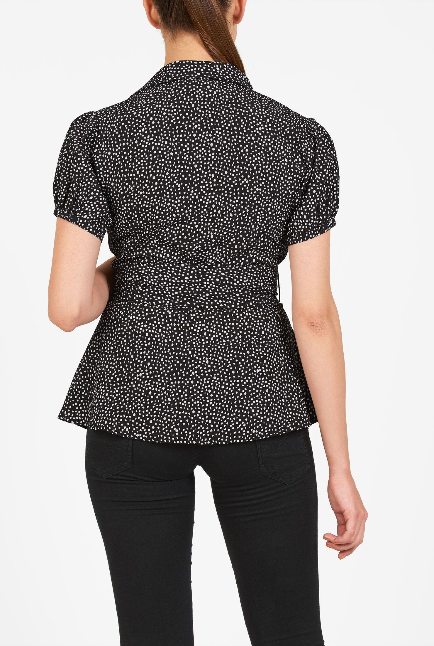 17d4e3b6e6 black and white shirts, digital print tops, Dot Print Tops, hip ...