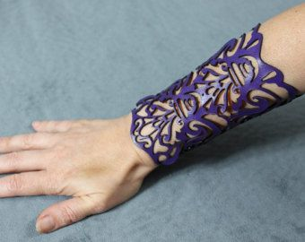 Cuff Victorian in violet leather 5 wrist by TomBanwell on Etsy