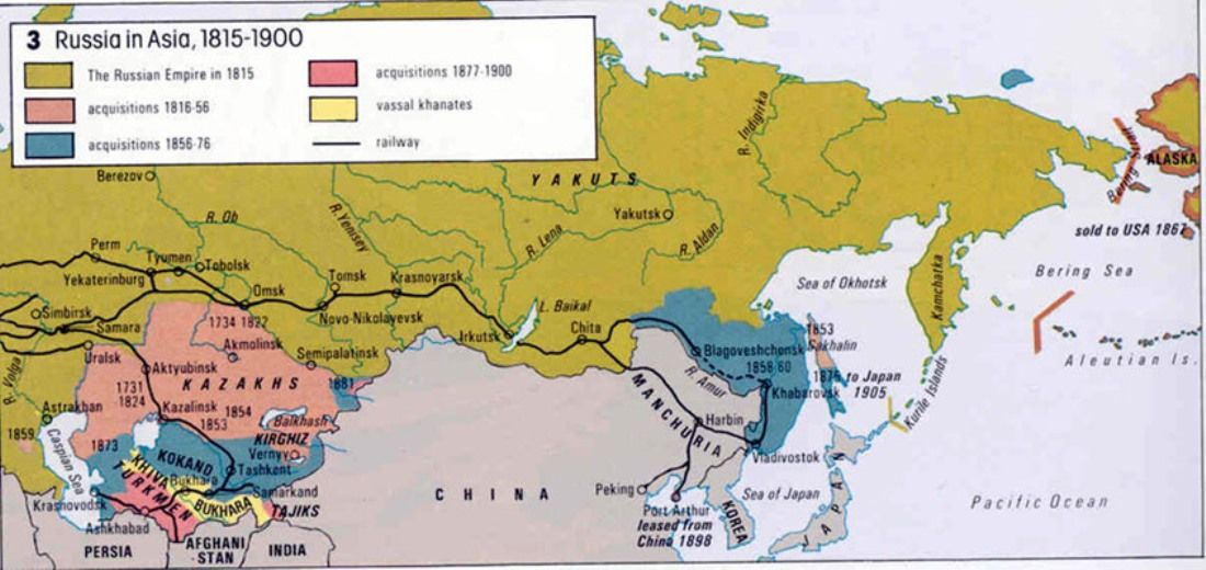 Map Of Asia 1900.1815 1900 Russian Expansion In Asia Russian Revolution Prelude