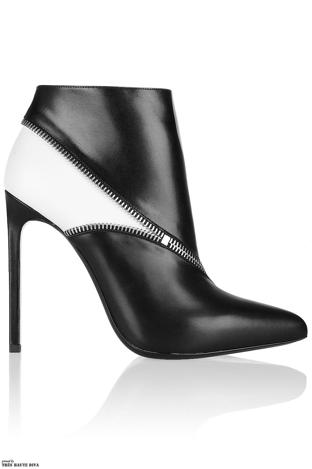 ec6fd141d87 Saint Laurent Two-tone leather ankle boots