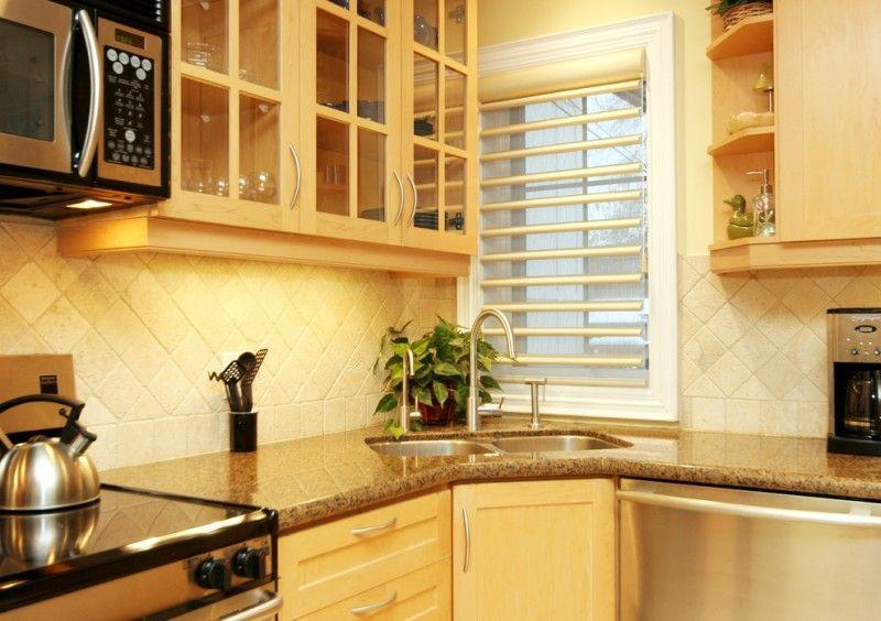 Corner Sink Cabinet Beige Backsplash Window With Blind Diamond Tiles Electric Range Glass Cabi Kitchen Designs Layout Kitchen Remodel Small Kitchen Sink Design