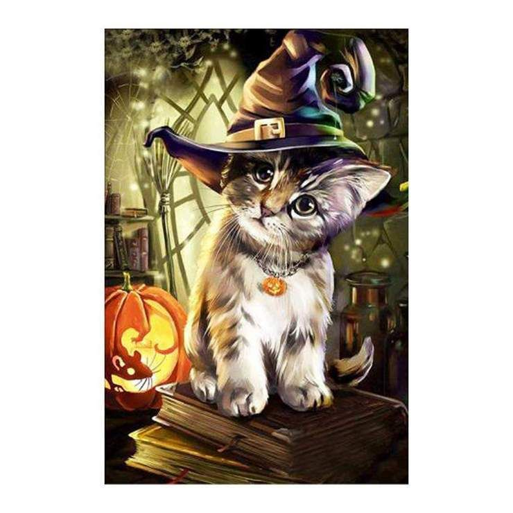 New Arrival Hot Sale Curious Cat Wears Magic Halloween Hat
