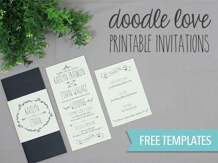 Free printable doodle love wedding invitation from - free engagement party invitation templates printable
