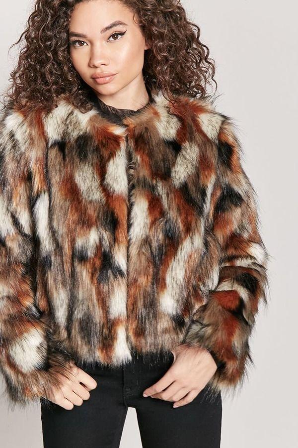 27e8341b1293 FOREVER 21 Multicolored Faux Fur Coat #fashion #style | Outerwear ...