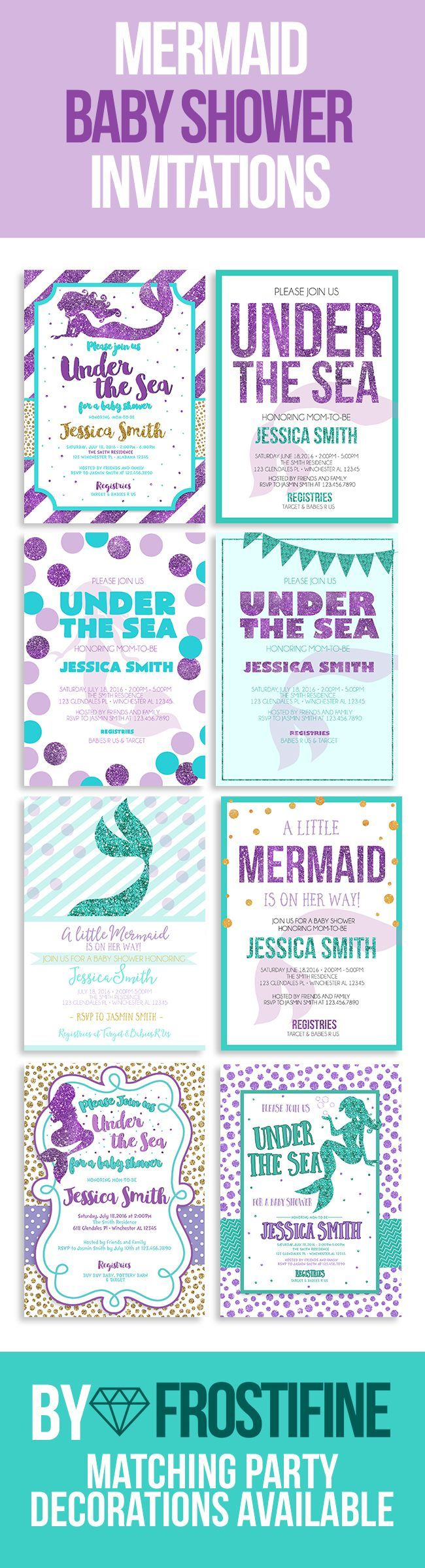 Mermaid baby shower invitations, printable cards. DIY baby shower ...