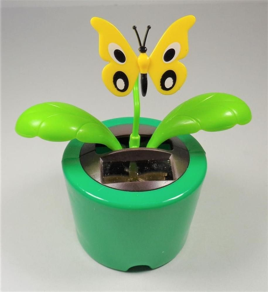 Hawaiian Aloha Solar Powered Dancing Island Butterfly With Green Base Flower Pot Flower Pots Solar Power Solar