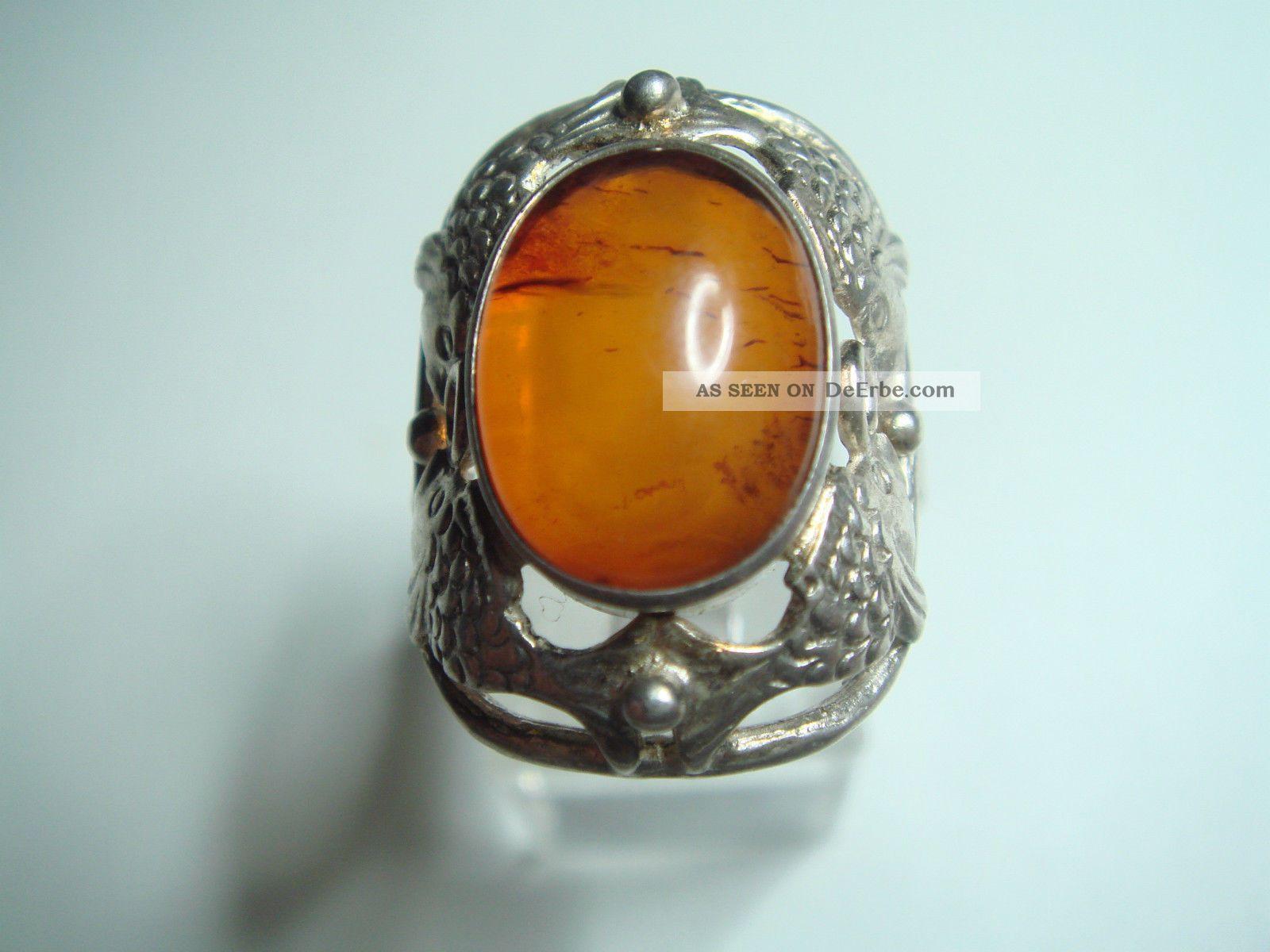 Schmuck art  Antiker Art Deco Ring Echt Silber 835 & Echten Bernstein Amber Von ...