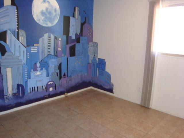 How to paint cityscape wall mural city skyline - How to paint murals on bedroom walls ...
