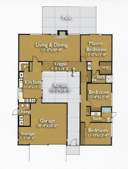 Resultado de imagen para casas peque as con patio interior for Planos de casas con patio interior