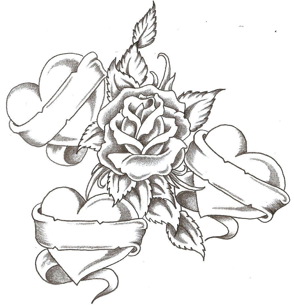 Heart And Rose Love Drawings cupcake design ...