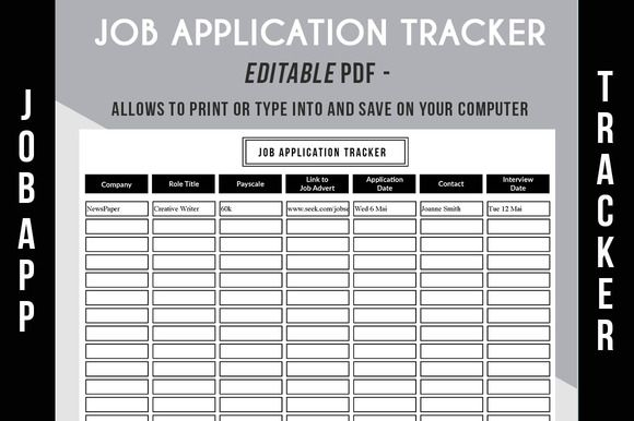 Job Application Tracker  Pdf By Graphicsauthor  Resume Cv