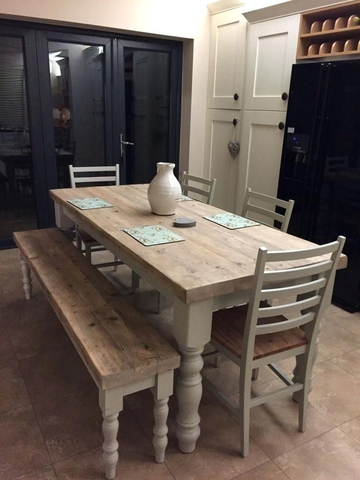 Long Narrow Farmhouse Kitchen Dining Tables Yahoo Image Search Results With Images Farmhouse Dining Room Table Dining Table With Bench Farmhouse Dining