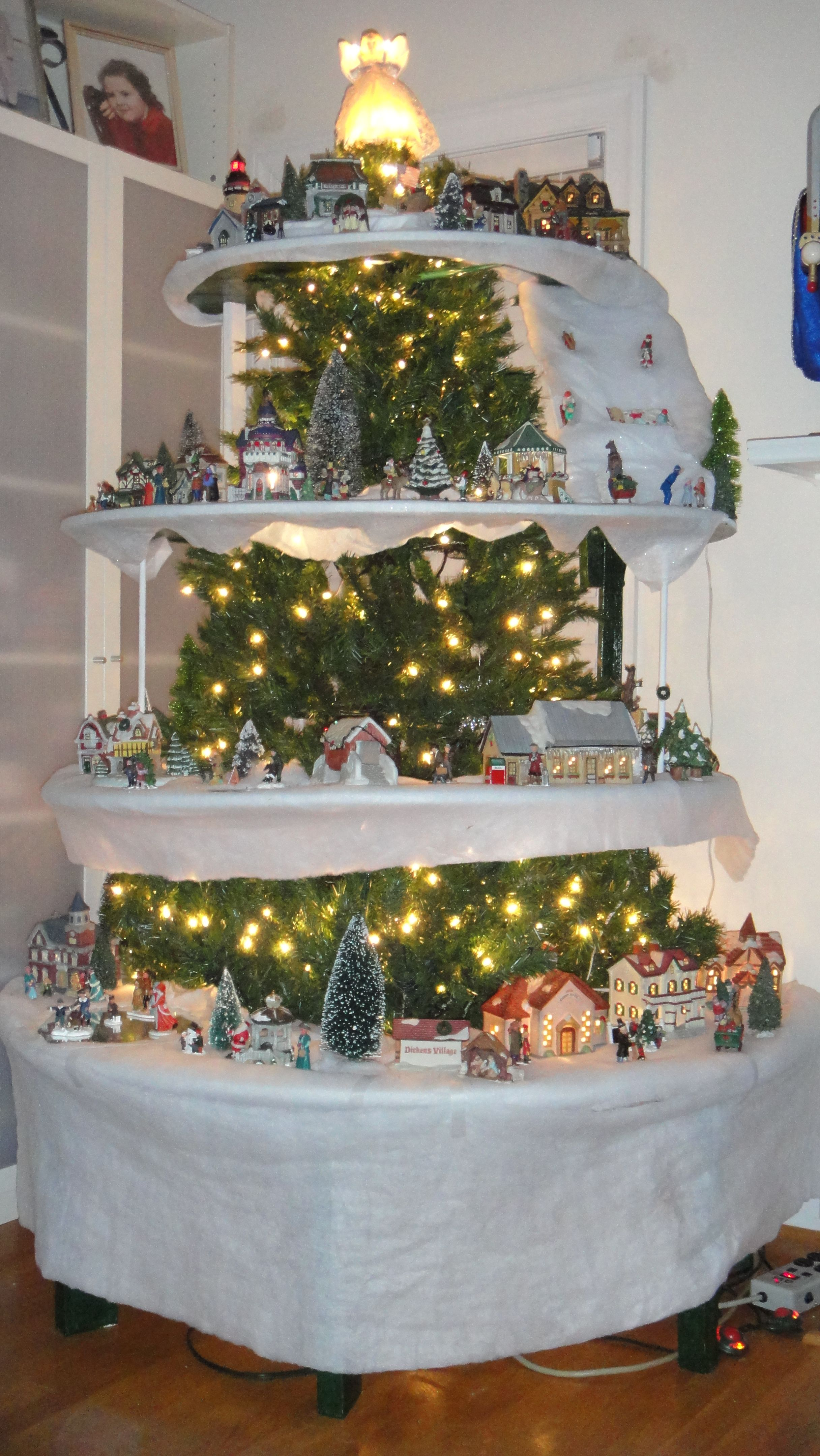 Our Christmas Village Tree First Time Doing This