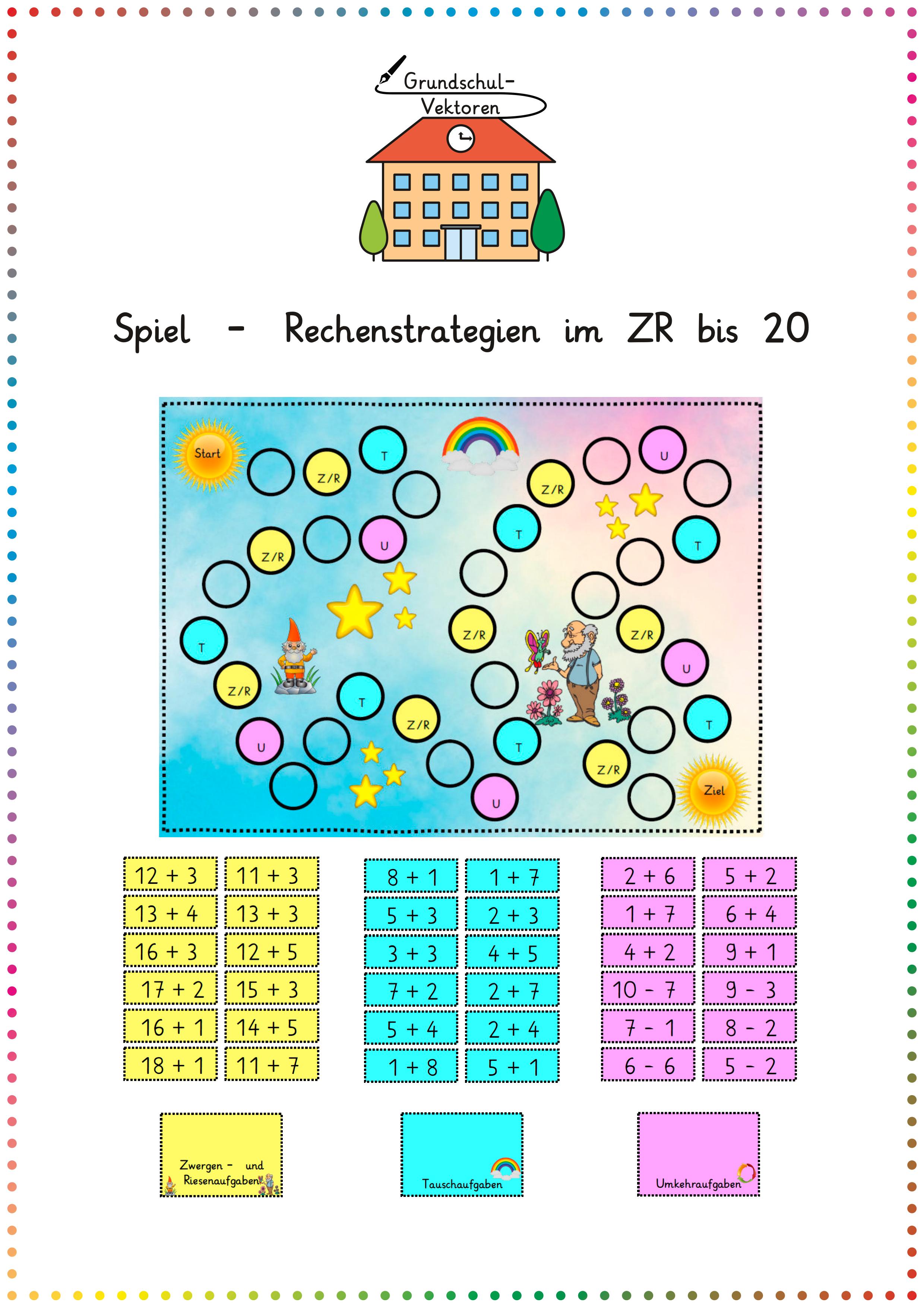 Spiel   Rechenstrategien im ZR bis 20 – Unterrichtsmaterial im ...