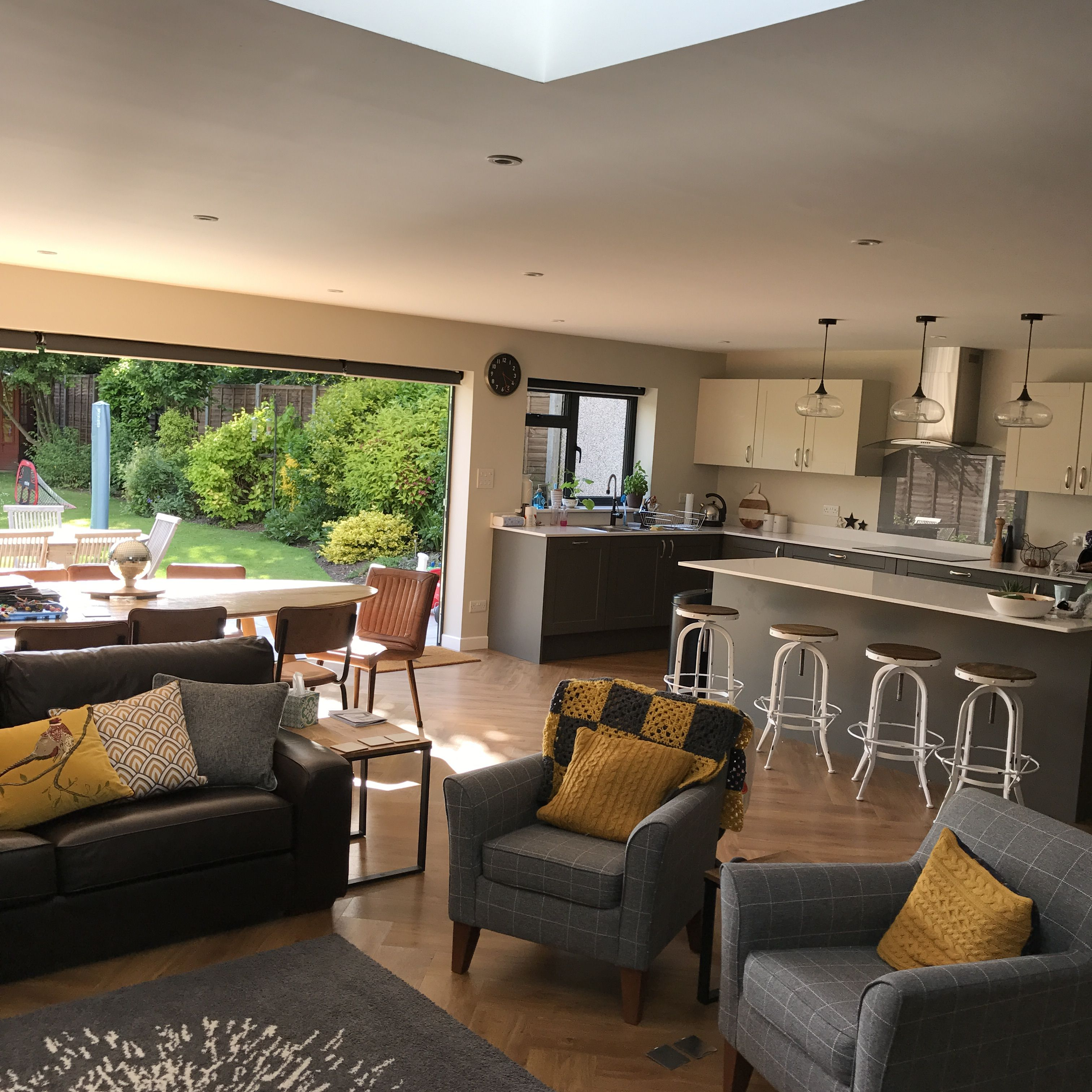 Best Open Plan Kitchen Grey And Mustard With Stools Open Plan 400 x 300