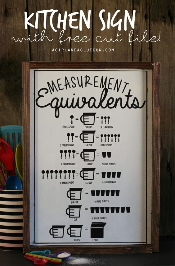 Kitchen measurement equivalent sign-with free cut file! - A girl and a glue gun