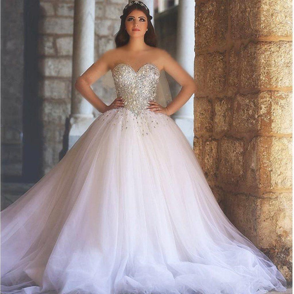 Sweetheart Drop Waist Tulle Princess Wedding Gowns 2017 Long Sleeve Ball Gown Wedding Dress Ball Gown Wedding Dress Tulle Wedding Gown [ 1024 x 1024 Pixel ]