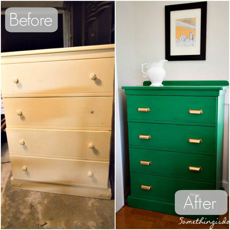Dresser Before And After Love The Kelly Green Colour