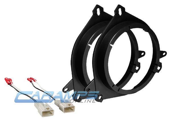 CAR STEREO DOOR SPEAKER MOUNTING ADAPTER PLATE BRACKETS WITH WIRE HARNESS PLUGS