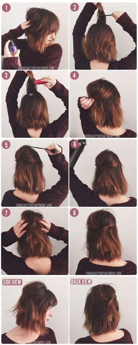 22 Half Up Half Down Hairstyles Easy Step By Step Hair Tutorials Hairstyles Weekly Hair Styles Short Hair Styles Hair Hacks