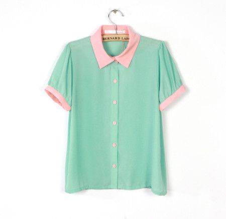 Mint green pink collar chiffon shirt!-Price: US$ 25.64##FashionTheBox.Com