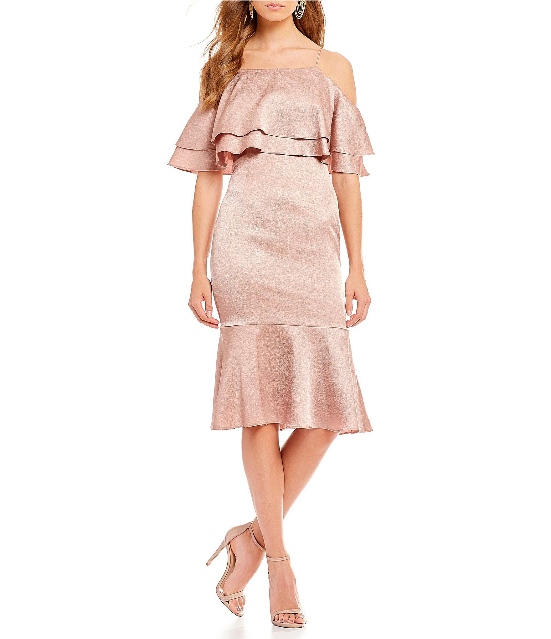 d0ce93f8a32 Aidan Aidan Mattox Hammered Satin Cold Shoulder Pop Over Midi Dress   Dillards