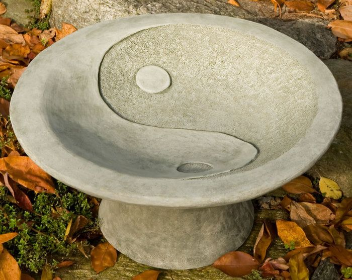 Pedestal Bird Feeders: Yin Yang Pedestal Bird Bath