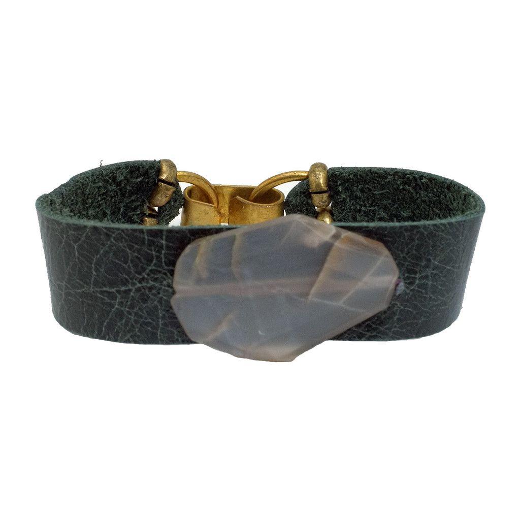 nomada green leather bracelet