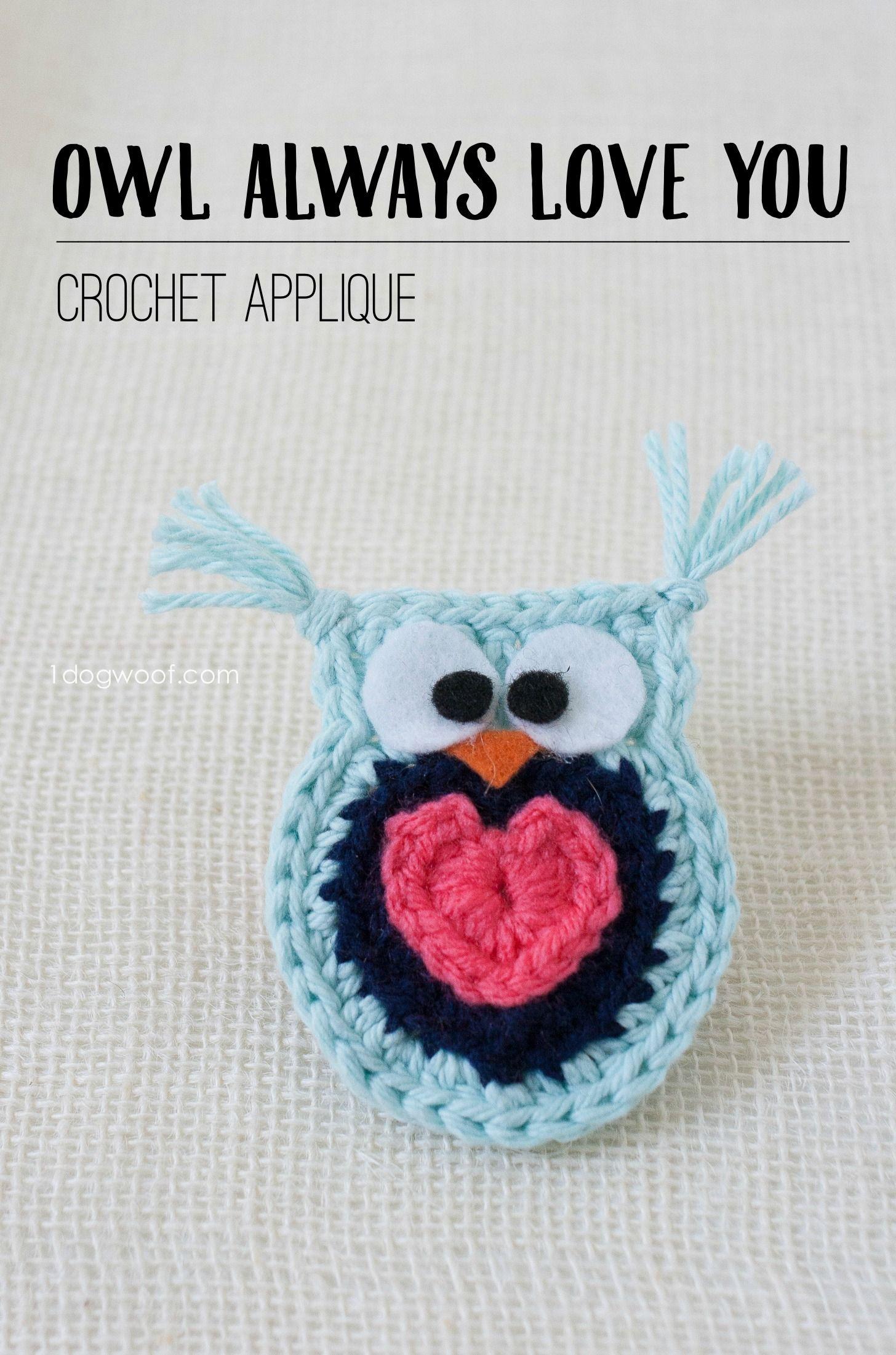Owl Always Love You Crochet Owl Applique | Apliques, Ganchillo y Tejido