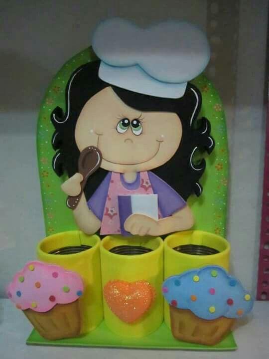 Lata ni a shef frascos y latas decorados en foamy for Botes de cocina decorados con goma eva