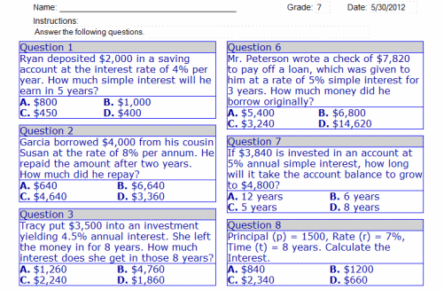Math Worksheets For 7th Grade 7th Grade Online Math