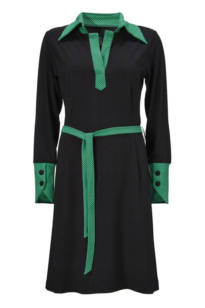 KJOLE alberte sort retro kjole med krave Weiz Copenhagen