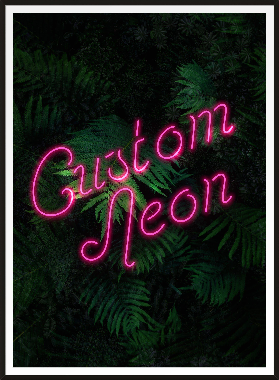 Custom Script Neon Sign Leaves Print Neon Signs Neon Leaf Prints