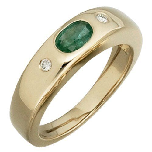 Damen-Ring 2 Diamant-Brillanten 14 Karat (585) Gelbgold 0.06 ct. 1 Smaragd Dreambase, http://www.amazon.de/dp/B00AEEJ17A/ref=cm_sw_r_pi_dp_KFW5sb1TDV7KS