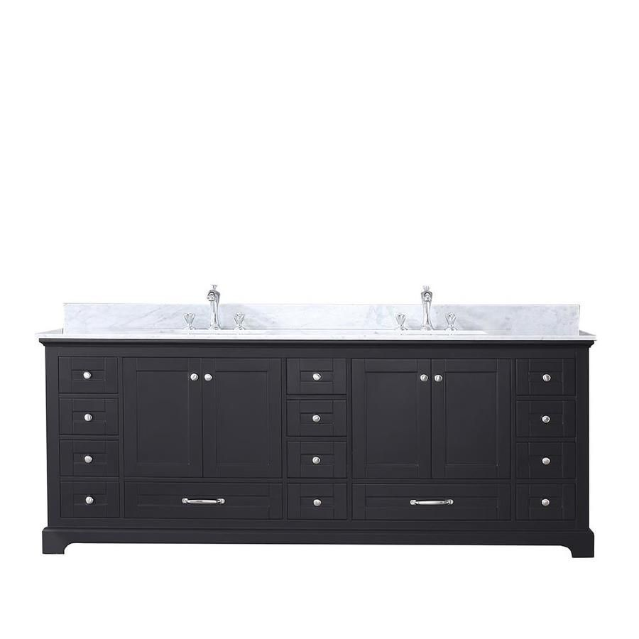 Lexora Dukes 84 In Espresso Double Sink Bathroom Vanity With White Carrera Marbl Double Vanity Bathroom Double Sink Bathroom Vanity Bathroom Vanity Base